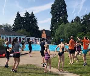 Participants at pool